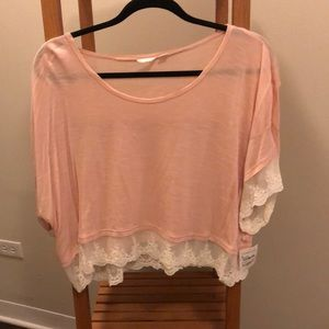 Pink and cream lace blouse